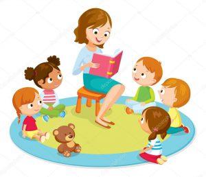 depositphotos 110338866 stock illustration teacher reading for kids
